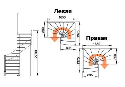 схема лестницы К-031М